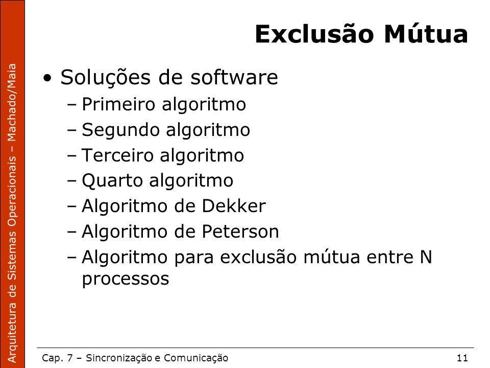 Arquitetura de Sistemas Operacionais – Machado/Maia Cap. 7 – Sincronização e Comunicação11 Exclusão Mútua Soluções de software –Primeiro algoritmo –Se