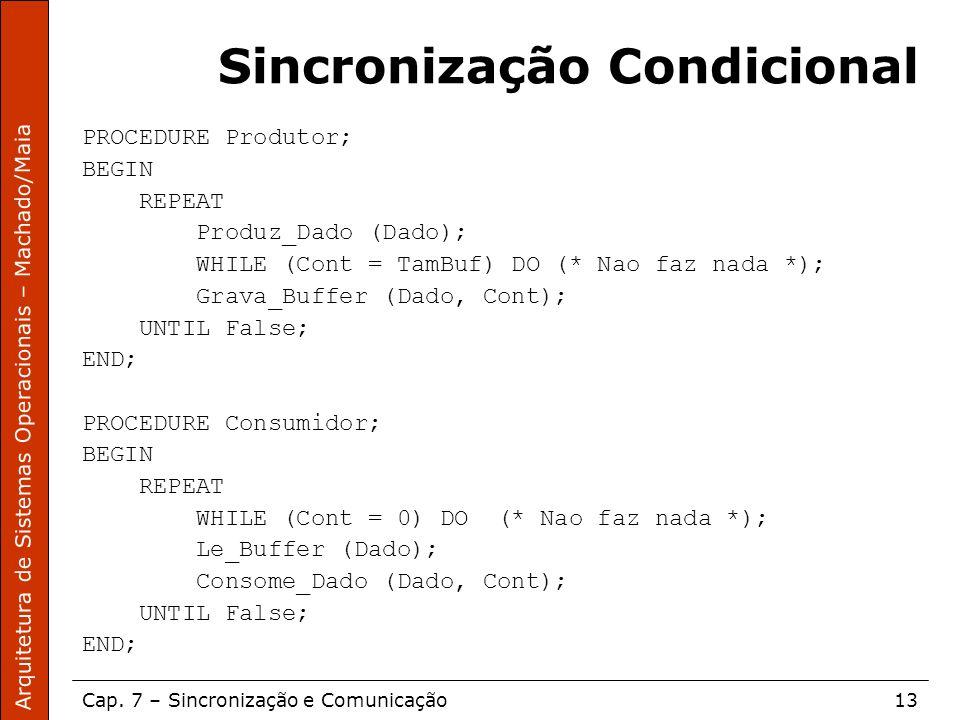 Arquitetura de Sistemas Operacionais – Machado/Maia Cap. 7 – Sincronização e Comunicação13 Sincronização Condicional PROCEDURE Produtor; BEGIN REPEAT