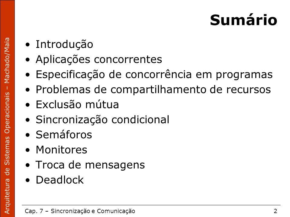 Arquitetura de Sistemas Operacionais – Machado/Maia Cap. 7 – Sincronização e Comunicação2 Sumário Introdução Aplicações concorrentes Especificação de