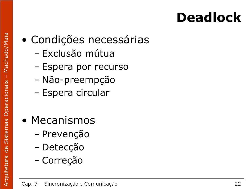Arquitetura de Sistemas Operacionais – Machado/Maia Cap. 7 – Sincronização e Comunicação22 Deadlock Condições necessárias –Exclusão mútua –Espera por
