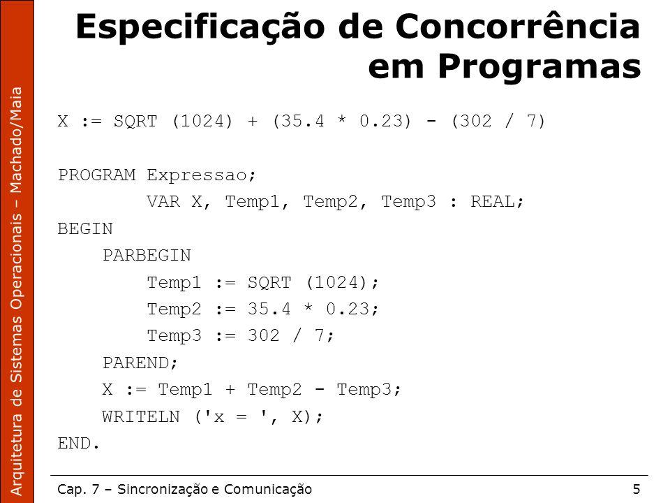 Arquitetura de Sistemas Operacionais – Machado/Maia Cap. 7 – Sincronização e Comunicação5 Especificação de Concorrência em Programas X := SQRT (1024)