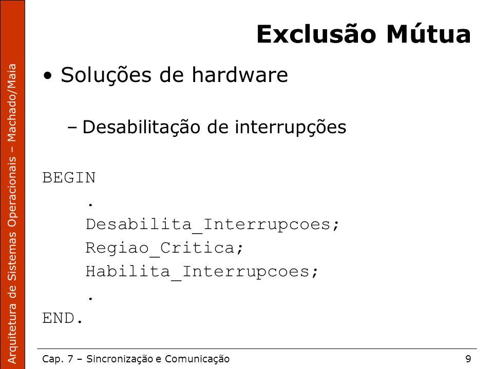 Arquitetura de Sistemas Operacionais – Machado/Maia Cap. 7 – Sincronização e Comunicação9 Exclusão Mútua Soluções de hardware –Desabilitação de interr