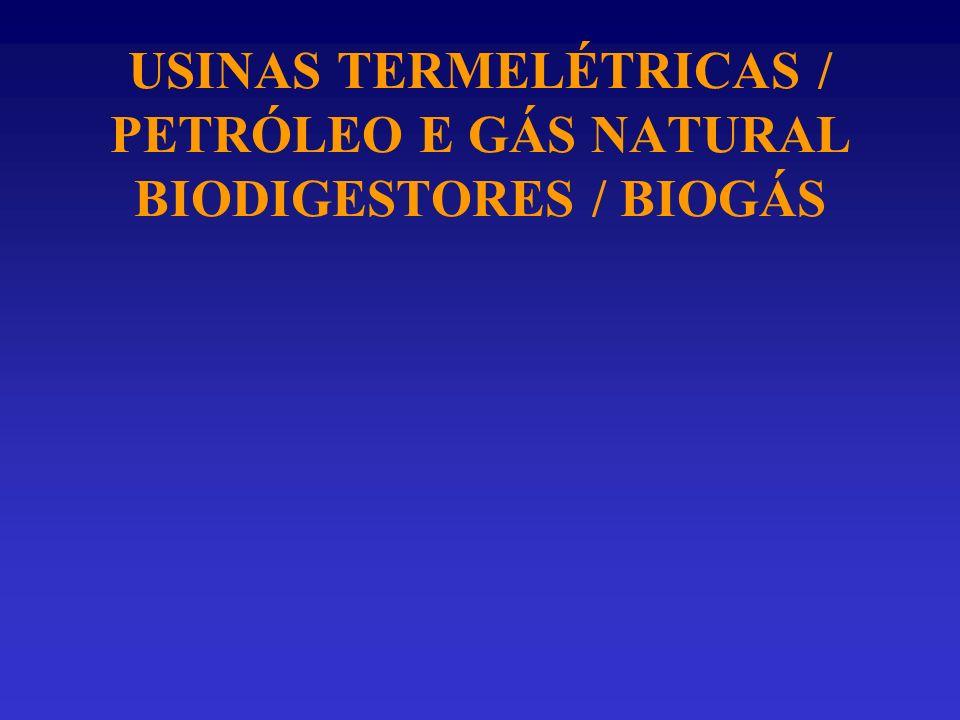 USINAS TERMELÉTRICAS / PETRÓLEO E GÁS NATURAL BIODIGESTORES / BIOGÁS