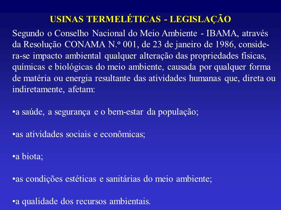 USINAS TERMELÉTICAS - LEGISLAÇÃO Segundo o Conselho Nacional do Meio Ambiente - IBAMA, através da Resolução CONAMA N. o 001, de 23 de janeiro de 1986,