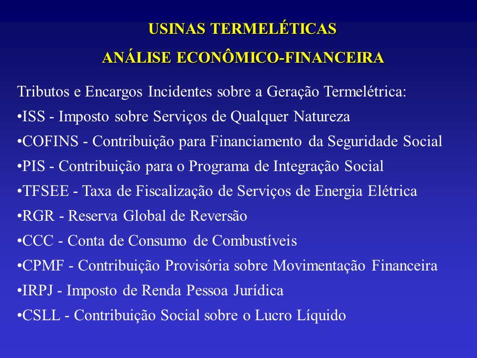 USINAS TERMELÉTICAS ANÁLISE ECONÔMICO-FINANCEIRA Tributos e Encargos Incidentes sobre a Geração Termelétrica: ISS - Imposto sobre Serviços de Qualquer