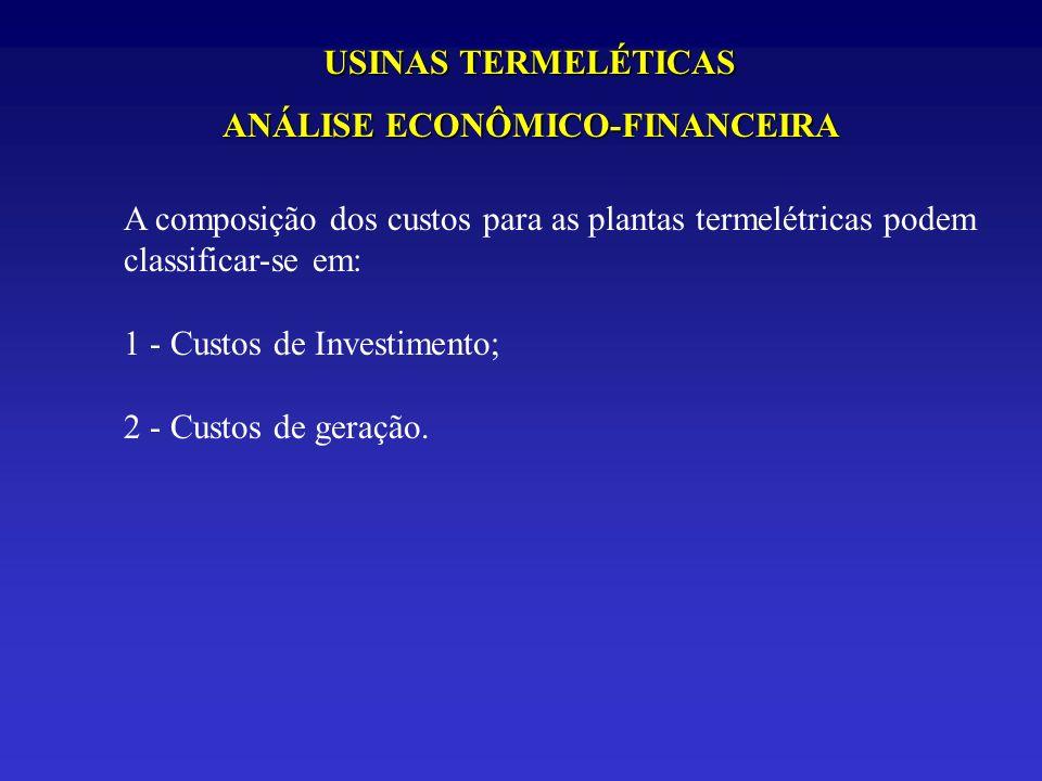 USINAS TERMELÉTICAS ANÁLISE ECONÔMICO-FINANCEIRA A composição dos custos para as plantas termelétricas podem classificar-se em: 1 - Custos de Investim