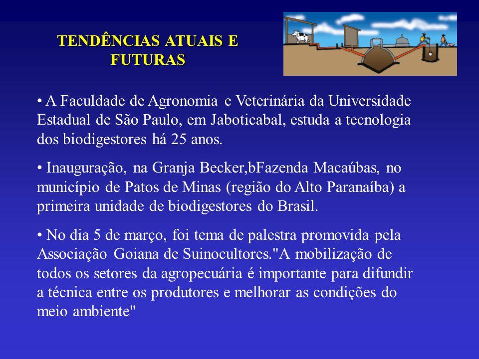 TENDÊNCIAS ATUAIS E FUTURAS A Faculdade de Agronomia e Veterinária da Universidade Estadual de São Paulo, em Jaboticabal, estuda a tecnologia dos biod