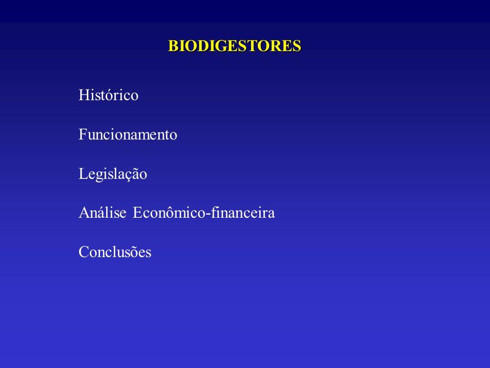 BIODIGESTORES Histórico Funcionamento Legislação Análise Econômico-financeira Conclusões
