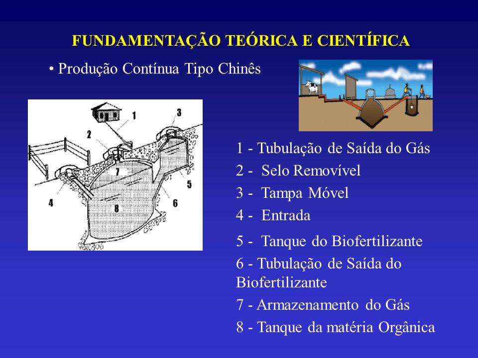 FUNDAMENTAÇÃO TEÓRICA E CIENTÍFICA Produção Contínua Tipo Chinês 1 - Tubulação de Saída do Gás 2 - Selo Removível 3 - Tampa Móvel 4 - Entrada 5 - Tanq