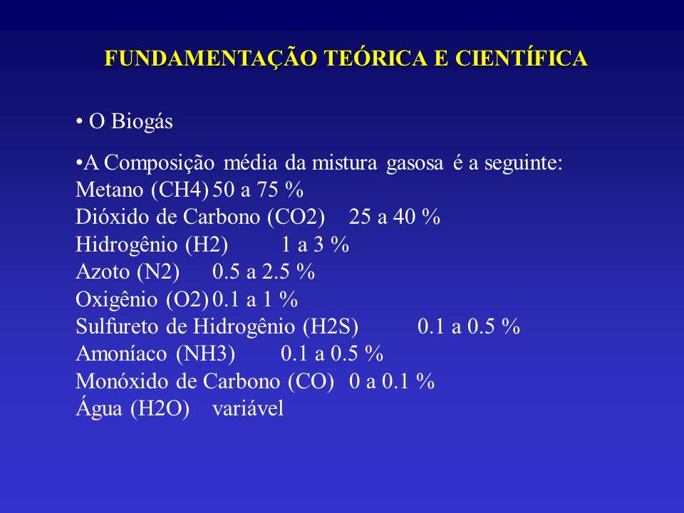 O Biogás A Composição média da mistura gasosa é a seguinte: Metano (CH4)50 a 75 % Dióxido de Carbono (CO2)25 a 40 % Hidrogênio (H2)1 a 3 % Azoto (N2)0