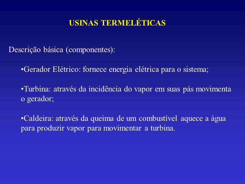 USINAS TERMELÉTICAS Descrição básica (componentes): Gerador Elétrico: fornece energia elétrica para o sistema; Turbina: através da incidência do vapor