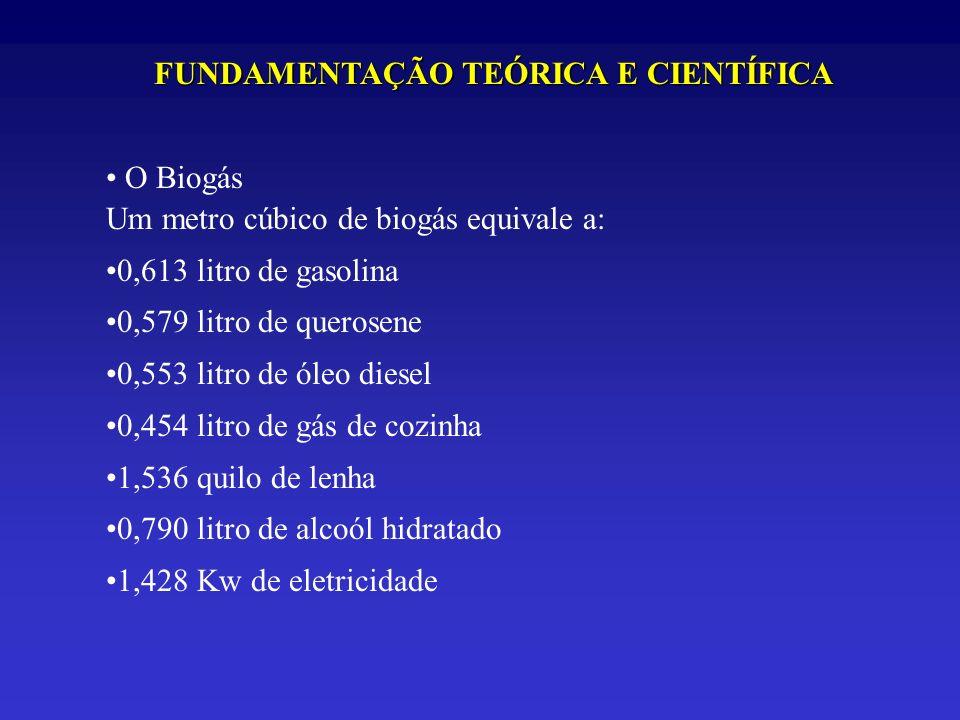 FUNDAMENTAÇÃO TEÓRICA E CIENTÍFICA O Biogás Um metro cúbico de biogás equivale a: 0,613 litro de gasolina 0,579 litro de querosene 0,553 litro de óleo