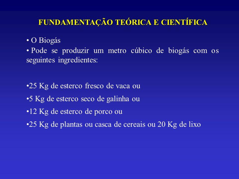 FUNDAMENTAÇÃO TEÓRICA E CIENTÍFICA O Biogás Pode se produzir um metro cúbico de biogás com os seguintes ingredientes: 25 Kg de esterco fresco de vaca