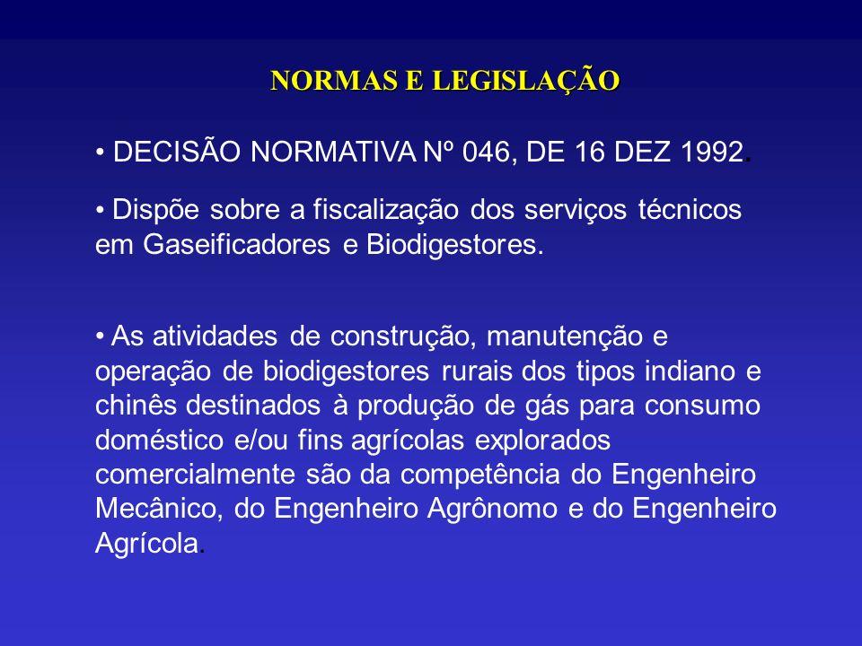 NORMAS E LEGISLAÇÃO DECISÃO NORMATIVA Nº 046, DE 16 DEZ 1992. Dispõe sobre a fiscalização dos serviços técnicos em Gaseificadores e Biodigestores. As