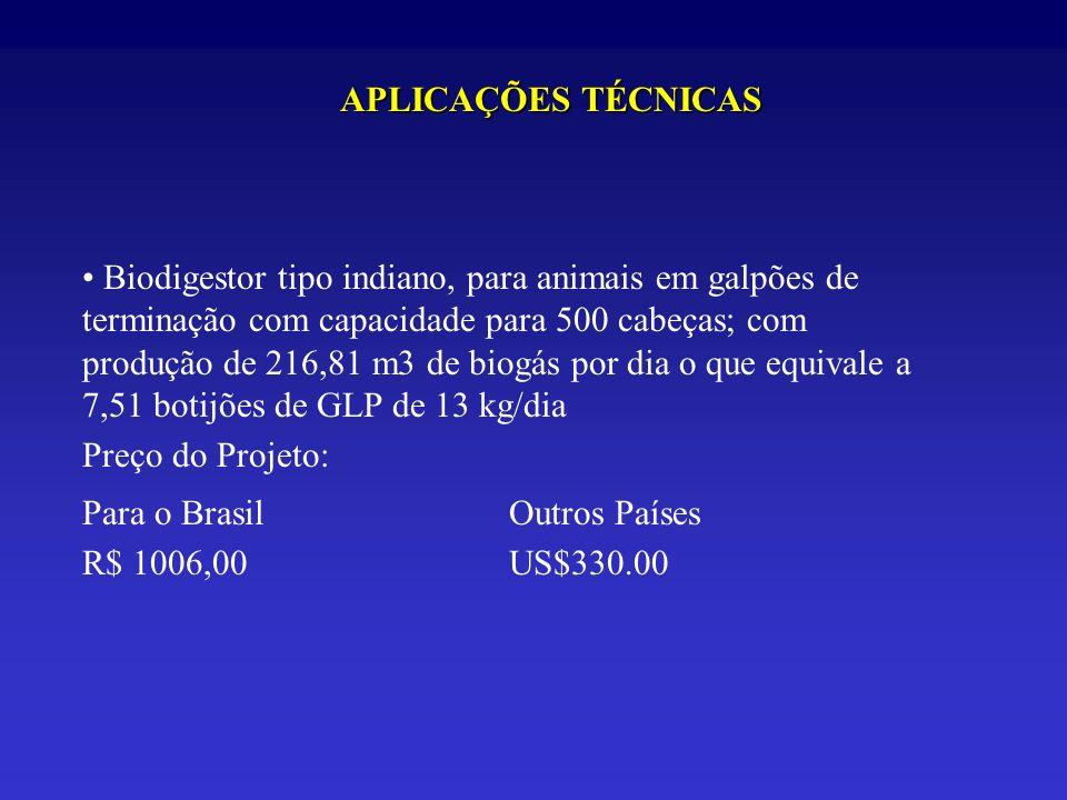 APLICAÇÕES TÉCNICAS Biodigestor tipo indiano, para animais em galpões de terminação com capacidade para 500 cabeças; com produção de 216,81 m3 de biog