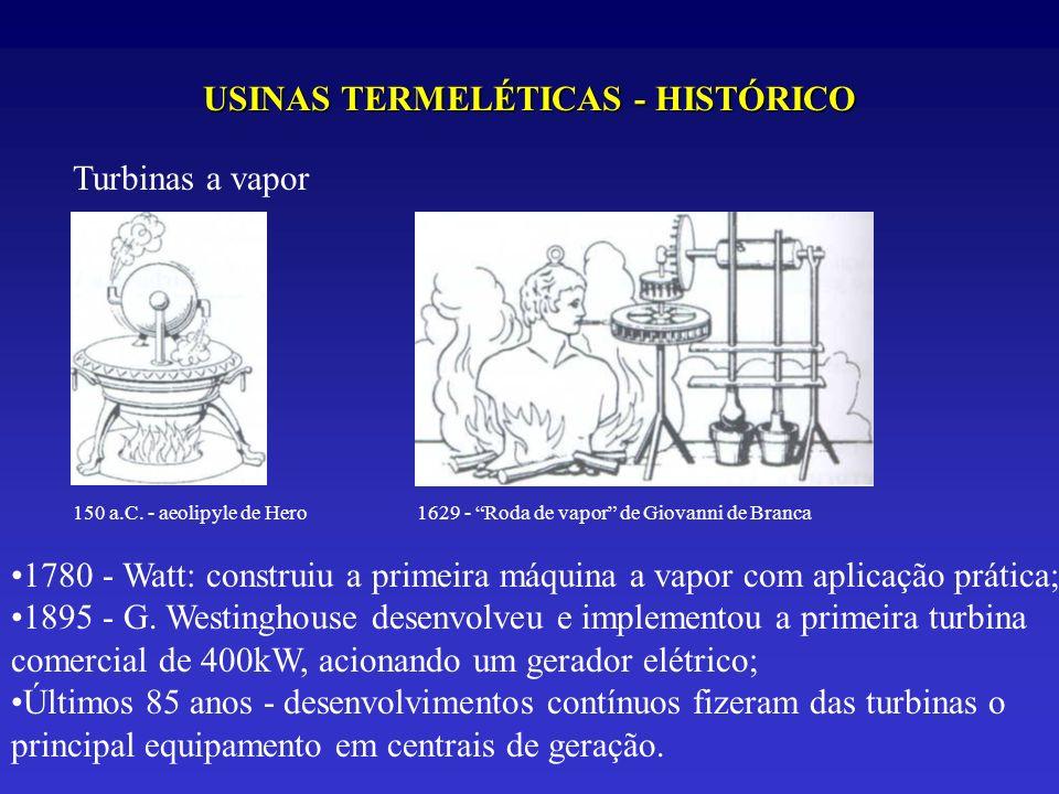USINAS TERMELÉTICAS - HISTÓRICO Turbinas a vapor 150 a.C. - aeolipyle de Hero1629 - Roda de vapor de Giovanni de Branca 1780 - Watt: construiu a prime