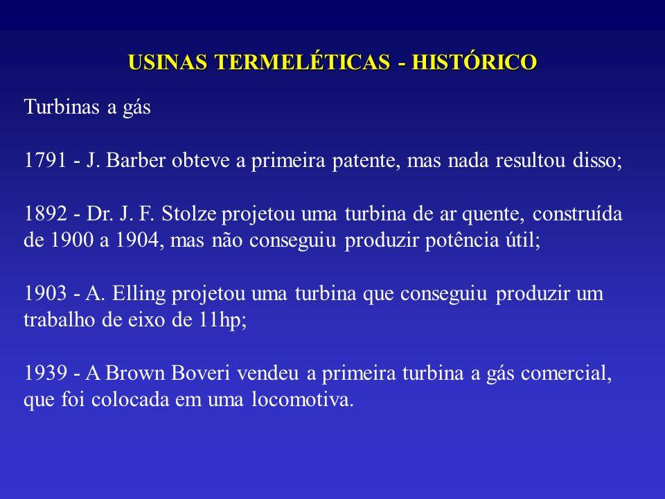 USINAS TERMELÉTICAS - HISTÓRICO Turbinas a gás 1791 - J. Barber obteve a primeira patente, mas nada resultou disso; 1892 - Dr. J. F. Stolze projetou u
