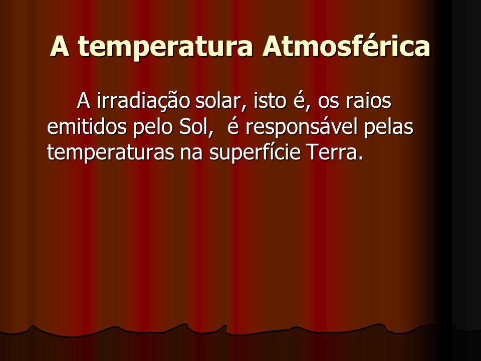 A temperatura Atmosférica A irradiação solar, isto é, os raios emitidos pelo Sol, é responsável pelas temperaturas na superfície Terra.