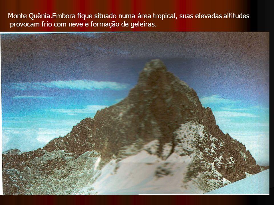 Monte Quênia.Embora fique situado numa área tropical, suas elevadas altitudes provocam frio com neve e formação de geleiras.