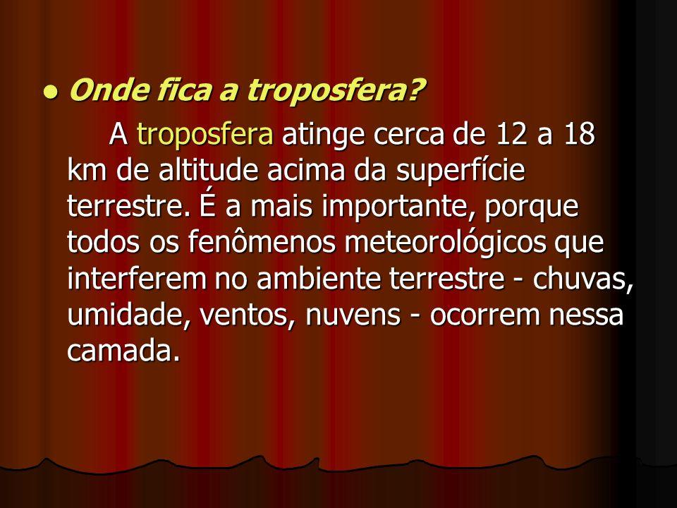 Onde fica a troposfera? Onde fica a troposfera? A troposfera atinge cerca de 12 a 18 km de altitude acima da superfície terrestre. É a mais importante