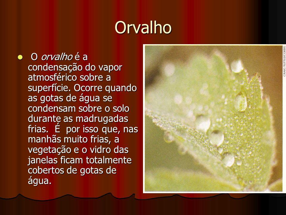 Orvalho O orvalho é a condensação do vapor atmosférico sobre a superfície. Ocorre quando as gotas de água se condensam sobre o solo durante as madruga