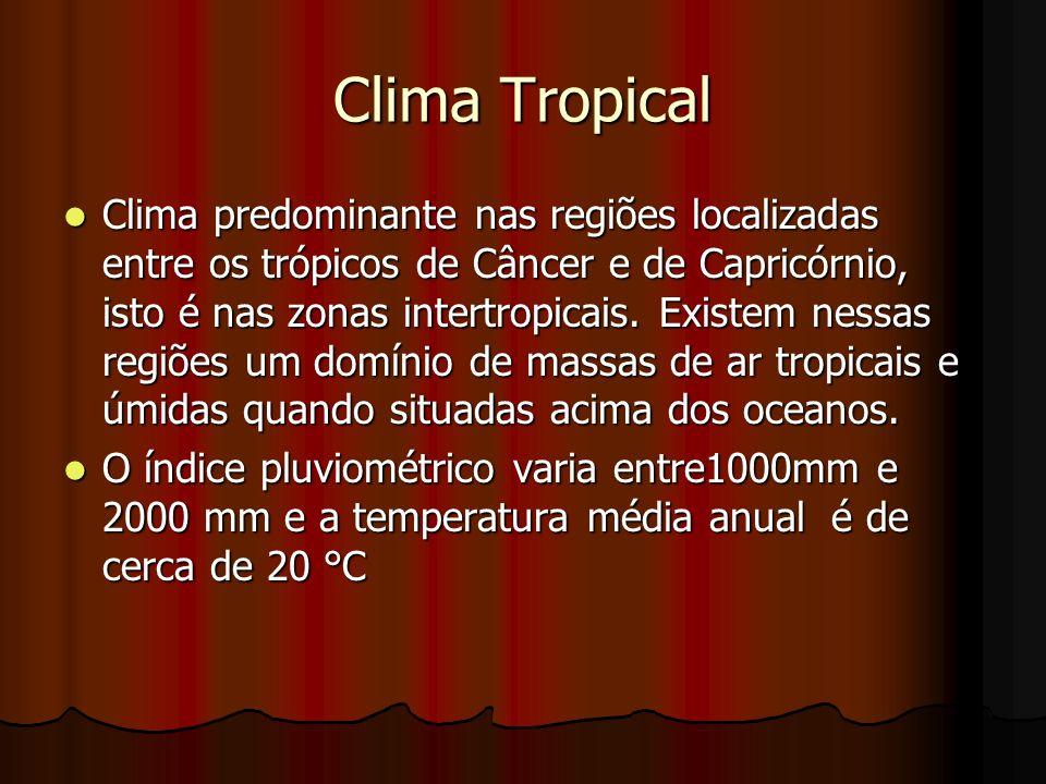 Clima Tropical Clima predominante nas regiões localizadas entre os trópicos de Câncer e de Capricórnio, isto é nas zonas intertropicais. Existem nessa