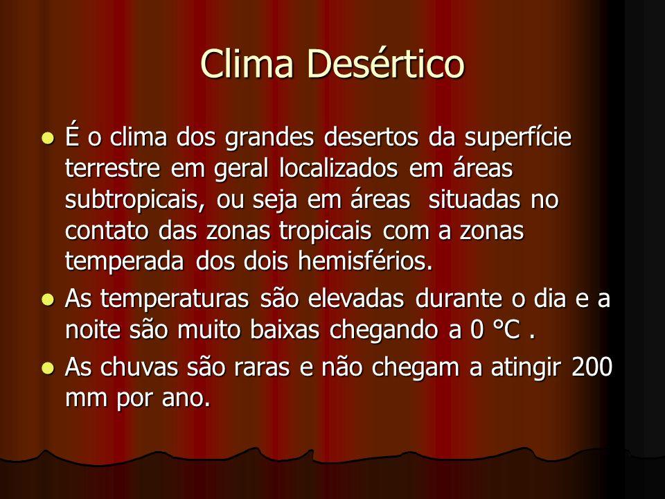 Clima Desértico É o clima dos grandes desertos da superfície terrestre em geral localizados em áreas subtropicais, ou seja em áreas situadas no contat