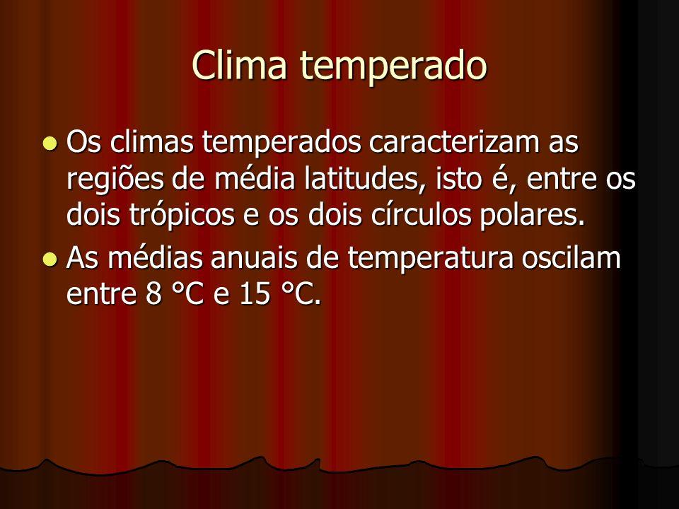 Clima temperado Os climas temperados caracterizam as regiões de média latitudes, isto é, entre os dois trópicos e os dois círculos polares. Os climas