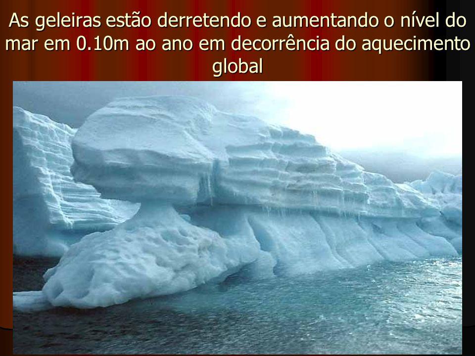 As geleiras estão derretendo e aumentando o nível do mar em 0.10m ao ano em decorrência do aquecimento global