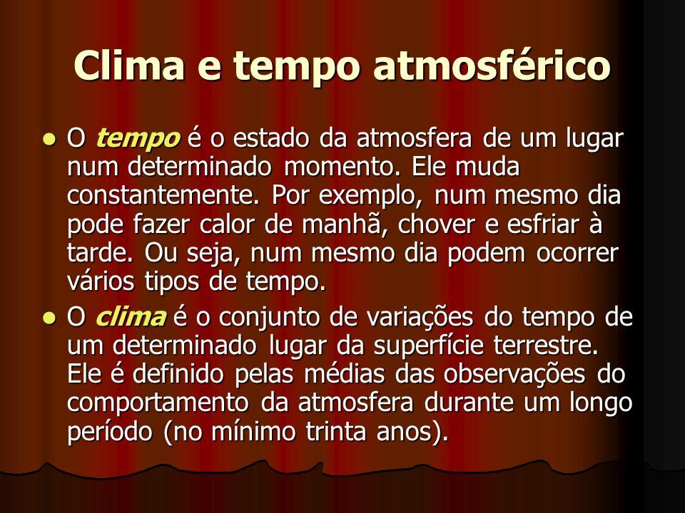 Clima e tempo atmosférico O tempo é o estado da atmosfera de um lugar num determinado momento. Ele muda constantemente. Por exemplo, num mesmo dia pod