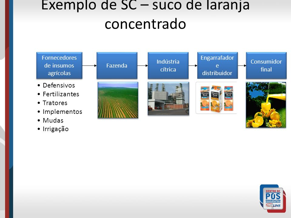 Exemplo de SC – suco de laranja concentrado 8 Fornecedores de insumos agrícolas Fazenda Indústria cítrica Engarrafador e distribuidor Consumidor final Defensivos Fertilizantes Tratores Implementos Mudas Irrigação
