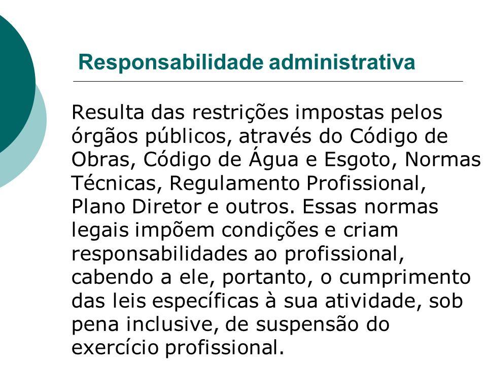 Responsabilidade administrativa Resulta das restrições impostas pelos órgãos públicos, através do Código de Obras, Código de Água e Esgoto, Normas Técnicas, Regulamento Profissional, Plano Diretor e outros.