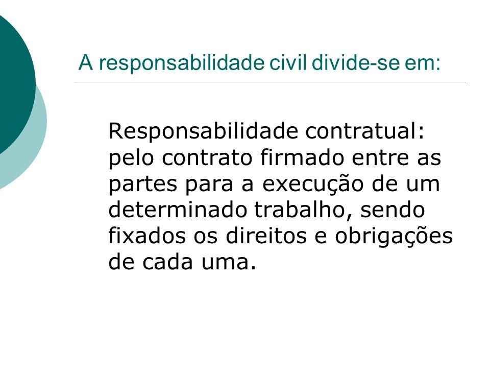 A responsabilidade civil divide-se em: Responsabilidade contratual: pelo contrato firmado entre as partes para a execução de um determinado trabalho, sendo fixados os direitos e obrigações de cada uma.