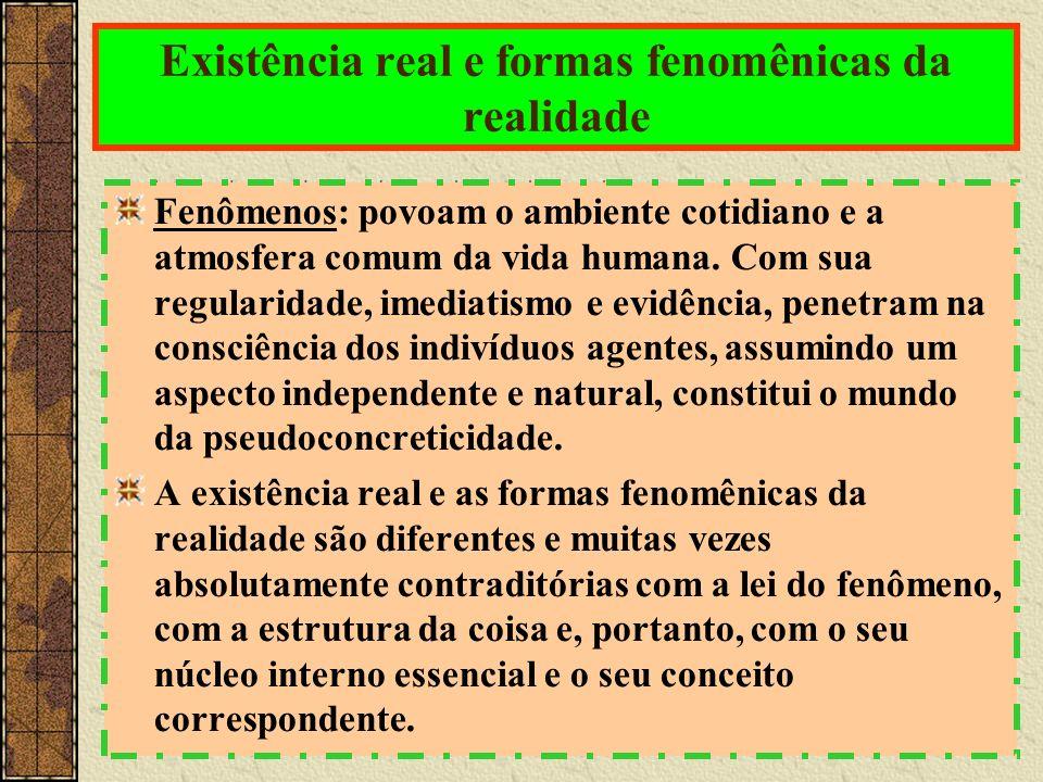 Existência real e formas fenomênicas da realidade Fenômenos: povoam o ambiente cotidiano e a atmosfera comum da vida humana.