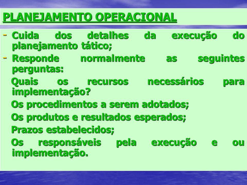 Planejamento Estratégico - Responsabilidade dos níveis de diretoria; - Estabelecer os rumos a serem seguidos; - Os cursos de ação para sua objetivação