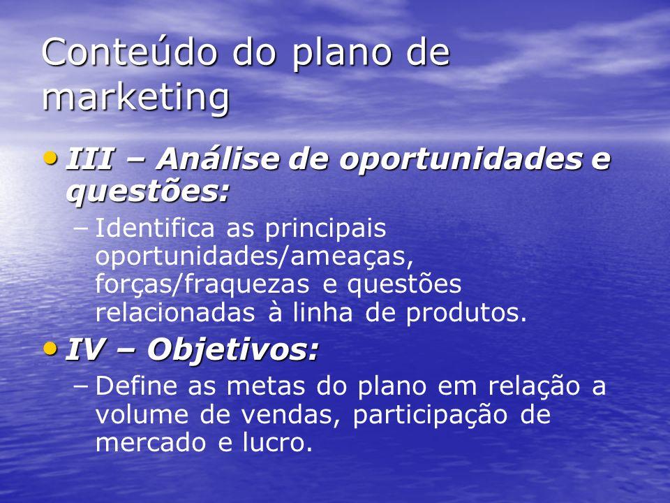 Conteúdo do plano de marketing I – Resumo executivo e sumário: – Apresenta uma rápida visão geral do plano proposto. II – Situação atual de marketing: