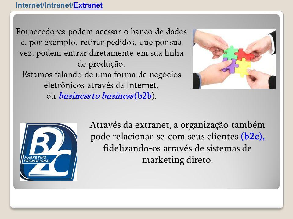 Através da extranet, a organização também pode relacionar-se com seus clientes (b2c), fidelizando-os através de sistemas de marketing direto. Internet