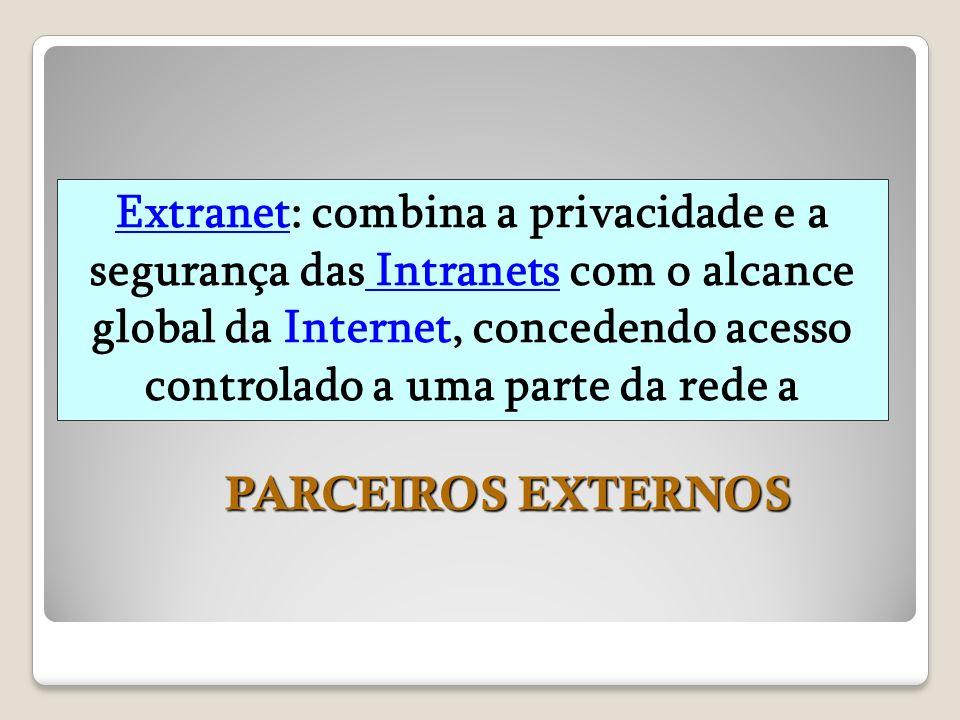 Extranet: combina a privacidade e a segurança das Intranets com o alcance global da Internet, concedendo acesso controlado a uma parte da rede a PARCE
