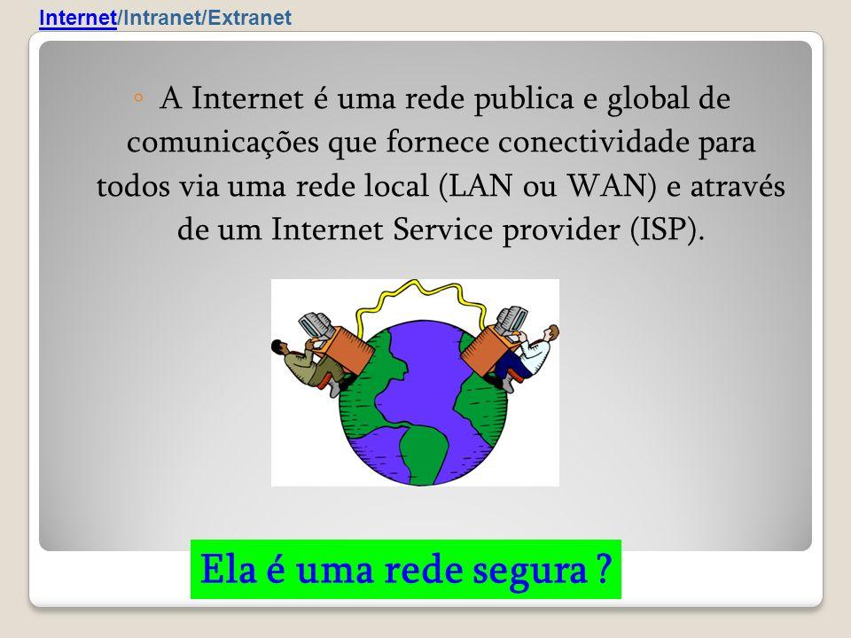A Internet é uma rede publica e global de comunicações que fornece conectividade para todos via uma rede local (LAN ou WAN) e através de um Internet S