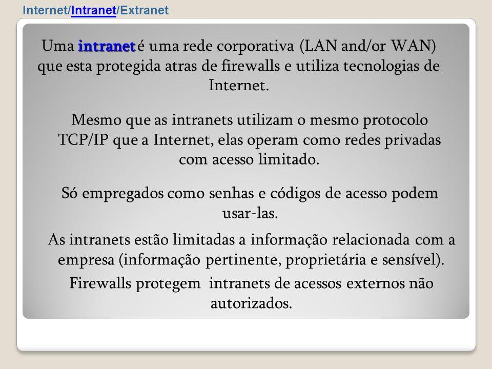 As intranets estão limitadas a informação relacionada com a empresa (informação pertinente, proprietária e sensível). Firewalls protegem intranets de