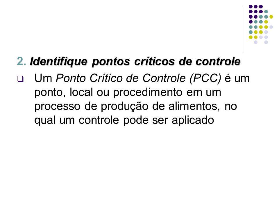 Identifique pontos críticos de controle 2. Identifique pontos críticos de controle Um Ponto Crítico de Controle (PCC) é um ponto, local ou procediment