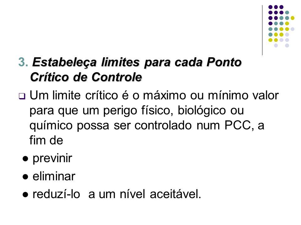 Estabeleça limites para cada Ponto Crítico de Controle 3. Estabeleça limites para cada Ponto Crítico de Controle Um limite crítico é o máximo ou mínim