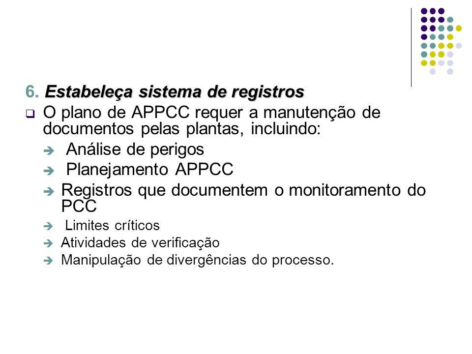 Estabeleça sistema de registros 6. Estabeleça sistema de registros O plano de APPCC requer a manutenção de documentos pelas plantas, incluindo: Anális