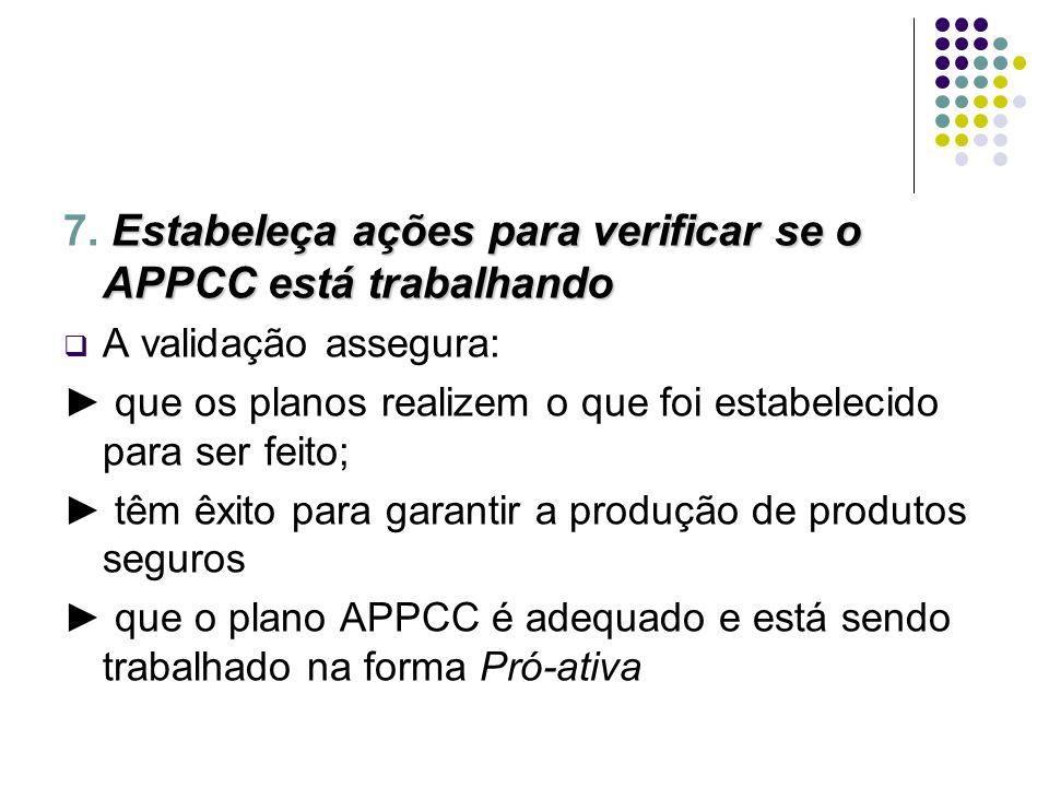Estabeleça ações para verificar se o APPCC está trabalhando 7. Estabeleça ações para verificar se o APPCC está trabalhando A validação assegura: que o