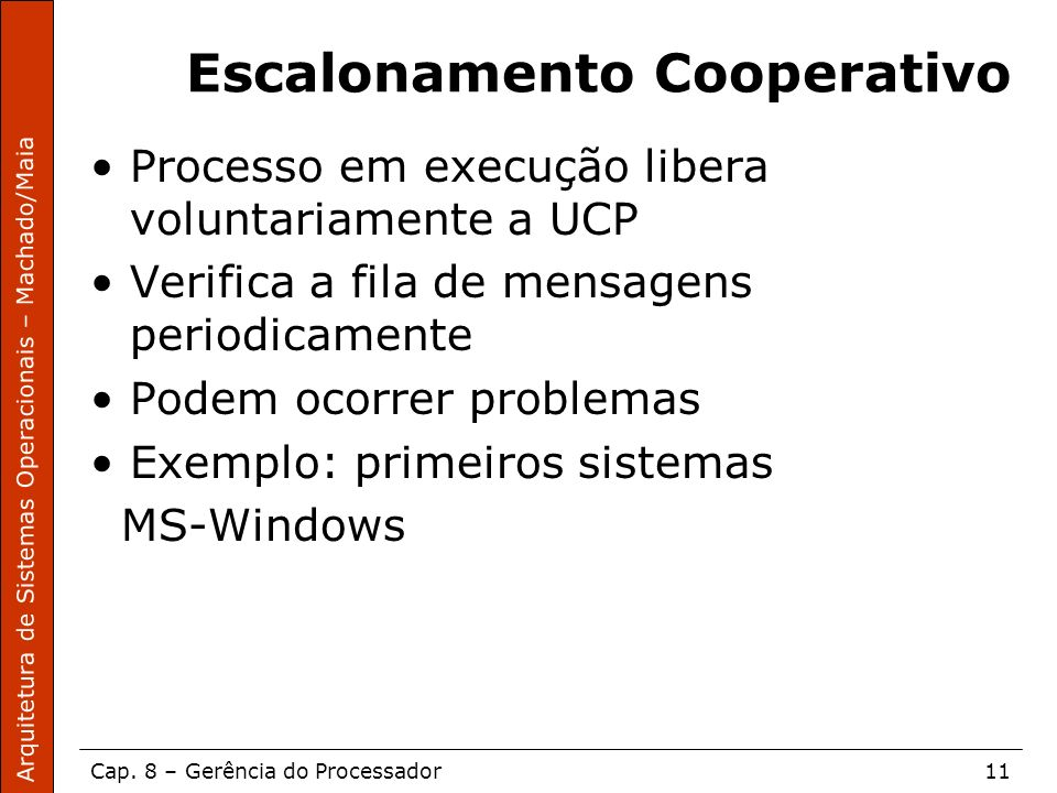 Arquitetura de Sistemas Operacionais – Machado/Maia Cap. 8 – Gerência do Processador11 Escalonamento Cooperativo Processo em execução libera voluntari