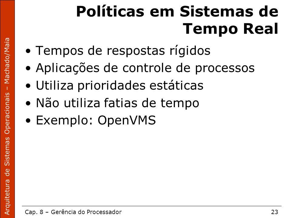 Arquitetura de Sistemas Operacionais – Machado/Maia Cap. 8 – Gerência do Processador23 Políticas em Sistemas de Tempo Real Tempos de respostas rígidos