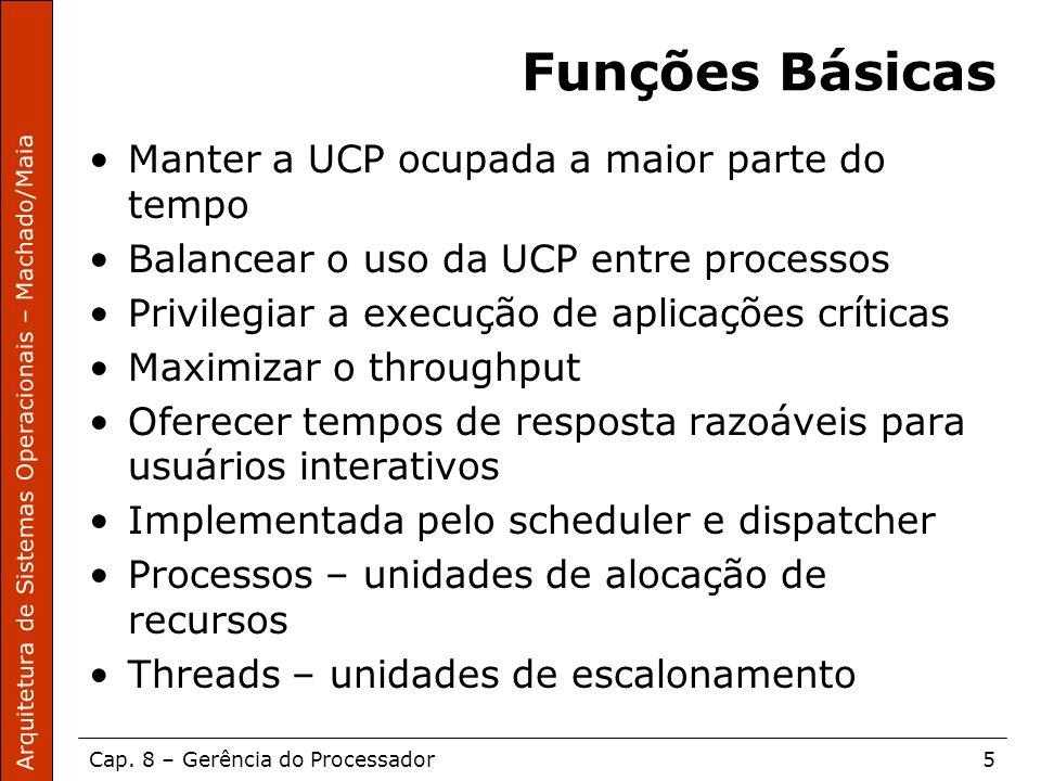 Arquitetura de Sistemas Operacionais – Machado/Maia Cap. 8 – Gerência do Processador5 Funções Básicas Manter a UCP ocupada a maior parte do tempo Bala