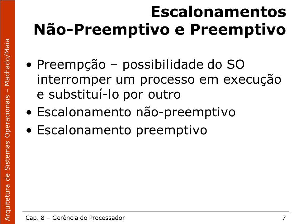 Arquitetura de Sistemas Operacionais – Machado/Maia Cap. 8 – Gerência do Processador7 Escalonamentos Não-Preemptivo e Preemptivo Preempção – possibili