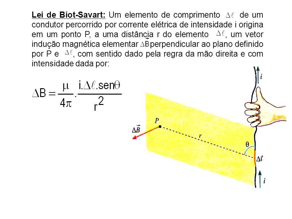 Lei de Biot-Savart: Um elemento de comprimento de um condutor percorrido por corrente elétrica de intensidade i origina em um ponto P, a uma distância