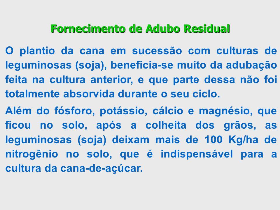 Fornecimento de Adubo Residual O plantio da cana em sucessão com culturas de leguminosas (soja), beneficia-se muito da adubação feita na cultura anter